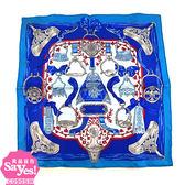 【奢華時尚】秒殺推薦!HERMES 水藍色 ETRIERS 印花42公分絲質方形絲巾領巾(全新未使用)#23323