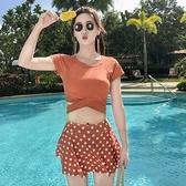 泳裝 泳衣女保守學生分體平角游泳衣顯瘦遮肚運動大碼溫泉泳裝-Ballet朵朵