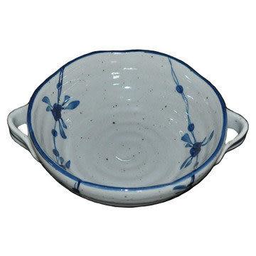 陶瓷餐具/手繪/仿古/中國風/7.5寸雙耳碗