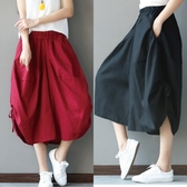 2020春夏棉麻燈籠褲闊腿七分褲 民族風純色鬆緊腰寬鬆大碼女士褲裙