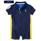 Polo Ralph Lauren polo杉短袖兔子裝 深藍條紋 | 男寶寶連身衣(嬰幼兒/baby/新生兒)