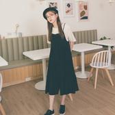 MUMU【O62828】細肩吊帶排扣飄逸雪紡蛋糕連身裙洋裝