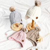 帽子 嬰兒毛線帽子寶寶護耳護臉防風帽內襯韓版新生兒5-6-9個月帽 伊鞋本鋪