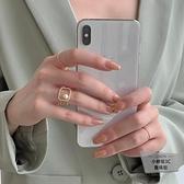 珍珠戒指女氣質幾何方形食指戒設計感【小檸檬3C】