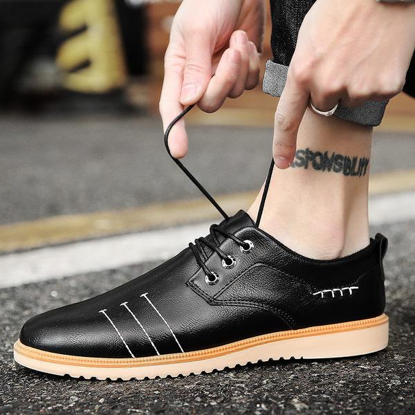 商務鞋系帶男鞋子黑色小皮鞋英倫復古潮鞋男士休閒鞋【無趣工社】