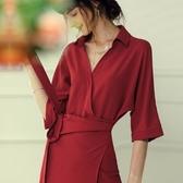 酒紅色洋裝 夏醋酸緞面連身裙女氣場氣質酒紅色法式復古襯衫紅色裙子 Ballet朵朵