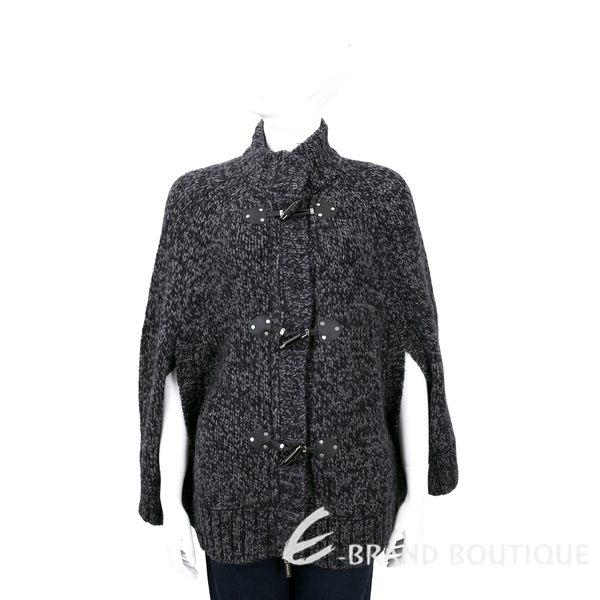 MICHAEL KORS 黑灰色牛角釦針織斗篷外套 1610099-58