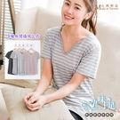 *孕味十足。孕婦裝*現貨【CMI1297】台灣製修身顯瘦大V領細條紋設計孕婦上衣 四色