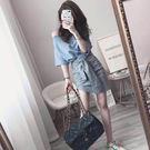 心機裙子設計感氣質港味兩件式初戀復古一字肩連身裙 糖果時尚
