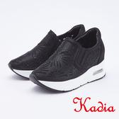 kadia.雕花亮麗水鑽高休閒鞋(9910-98黑色)