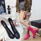 靴復古ins馬丁靴女新款前拉鏈短筒內增高圓頭百搭白色女短靴 小明同學