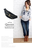 DF Queenin流行 - 獨領風騷韓潮素面金色拉鏈腰包