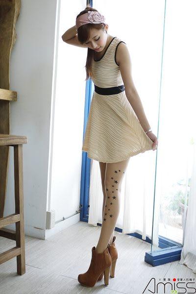 【台灣製造】流行女襪-個性圖騰艋舺刺青褲襪絲襪-日系星星【3202-20】雙腳側面印花