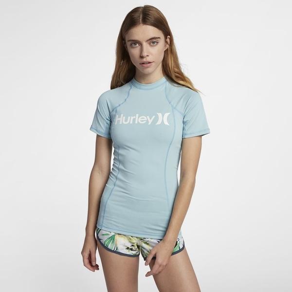 HURLEY|女 ONE & ONLY RASHGUARD SHORT SLEEVE 短袖防磨衣-藍