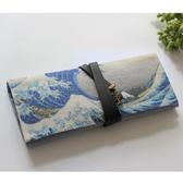 神奈川沖浪裏-日式筆簾折疊筆袋棉麻帆布和風捲簾捆綁海浪 限時九五折下殺