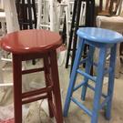 實木吧台凳子地中海吧台椅藍色高腳凳紅色高椅子裝飾凳子梯凳特價 小山好物