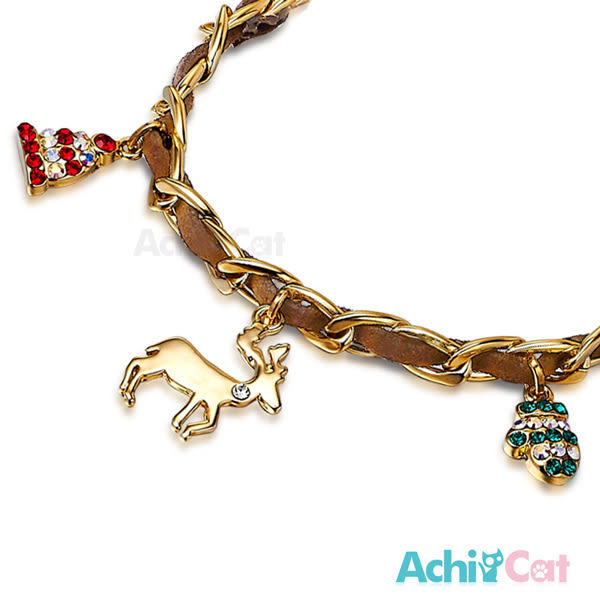 手鍊 AchiCat 正白K 聖誕佳節 麋鹿 聖誕樹 金色款 聖誕禮物 交換禮物
