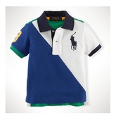 Polo Ralph Lauren polo杉 短袖上衣 白藍拼接大馬 | 男寶寶衣服(嬰幼兒/小孩/baby)