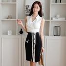 OL洋裝 2021夏季韓版OL職場氣質V領褶皺無袖襯衫高腰拼色包臀半身裙套裝