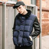 冬季男裝保暖外套歐美菱格棉服潮男士棉衣棒球服 免運直出交換禮物