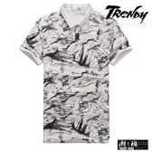 『潮段班』【SD031836】滿版黑白暈染設計立領POLO衫 短袖T恤上衣