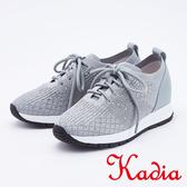kadia.舒適柔軟 水鑽編織休閒鞋(9539-85灰色)