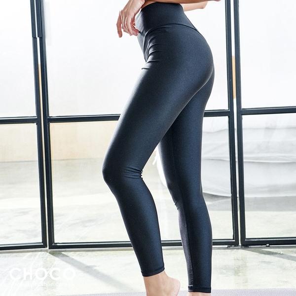 Choco Shop-Fit極致‧輕量高腰彈性九分運動褲(黑色) S~XL