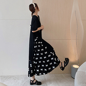 大碼洋裝 高含棉長洋裝 韓版9524#大碼假兩件拼接壓褶洋裝蝴蝶結短袖連身裙DC107韓衣裳