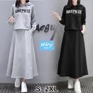 【V3068】shiny藍格子-悠閒單品.字母印花連帽上衣長裙兩件套裝
