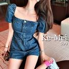 克妹Ke-Mei【AT65350】KOREA韓妞時髦方領鎖骨牛仔連身褲裝