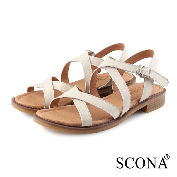 SCONA 蘇格南 全真皮 簡約舒適交叉涼鞋 米色 31122-2