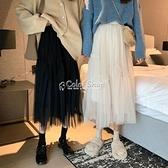 新款半身裙女學生網紗裙子中長款大擺蓬蓬裙仙女裙 快速出貨