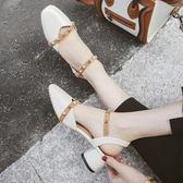 夏季新款百搭中跟學生復古一字扣帶方頭女鞋粗跟包頭涼鞋單鞋