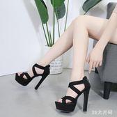 新款14CM超高跟粗跟交叉帶涼鞋恨天高性感夜場女鞋子 QQ8571『MG大尺碼』