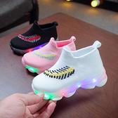 發光鞋-兒童發光鞋小童寶寶帶燈鞋春季新款網面透氣男童運動鞋女童小白鞋