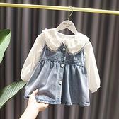 1-5歲女寶寶洋氣馬甲洋裝女童春裝新款3女嬰兒童時尚牛仔背心裙 幸福第一站