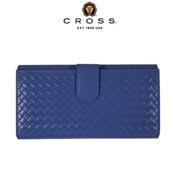 【南紡購物中心】【CROSS】限量1折 頂級NAPPA小羊皮編織紋中扣式長夾(海軍藍,全新專櫃展示品)