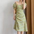 小碎花泡泡袖一字領洋裝連身裙【82-16-8785-21】ibella 艾貝拉