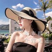 遮陽帽沙灘草帽子女夏天海邊大帽檐防曬遮陽出游度假百搭大沿涼帽太陽夏