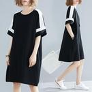 洋裝 中大尺碼 夏裝新款洋氣大碼女裝胖mm寬鬆遮肚子200斤中長款顯瘦雪紡連身裙