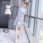 雪紡洋裝 雪紡連身裙春裝2021年新款女設計感春秋高端小眾春款氣質女裝裙子 甜美