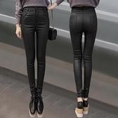 2020冬季新款亞光皮褲女加絨加厚磨砂涂層打底褲外穿高腰顯瘦長褲 向日葵生活館