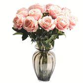 【新年鉅惠】假花單支白玫瑰仿真花客廳擺設干花花束室內裝飾品擺件絹花餐桌花