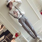 新款復古英倫褲格子背帶長褲顯瘦高腰休閑哈倫褲女褲子潮