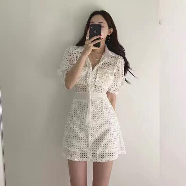 超殺29折 韓國風鏤空設計感收腰氣質性感短袖洋裝