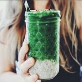 鉆石梅森杯菱格玻璃杯飲料杯創意吸管透明情侶簡約果汁水晶瓶 亞斯藍