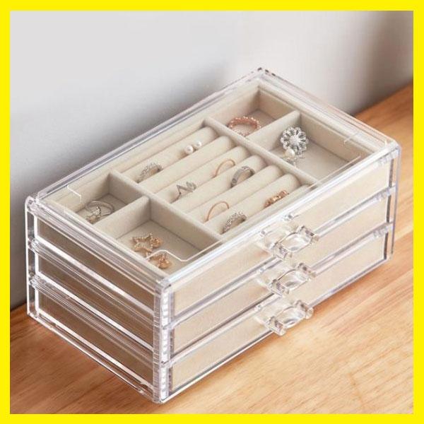 首飾收納盒耳環耳釘手飾品耳飾架整理盒多功能簡約大容量透明盒子 居享優品