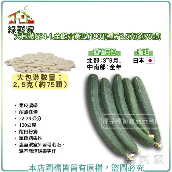 【綠藝家】大包裝G94-1.全雌小黃瓜(1903)種子2.5克(約75顆)
