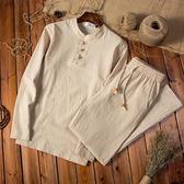 男士棉麻長袖套裝中國風盤扣唐裝長袖大碼居士服中式休閒茶服igo  K-shoes