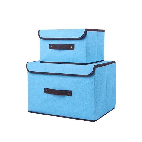 仿棉麻無紡布可折疊收納箱 L號 帶蓋魔術貼 硬布置物箱 收納袋 整理箱【SA142】《約翰家庭百貨